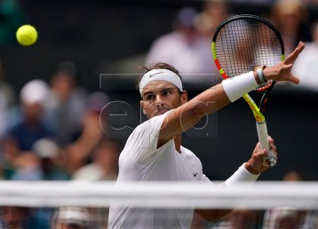 Rafael Nadal of Spain returns to Joao Sousa of Portugal in their fourth round match during the Wimbledon Championships at the All England Lawn Tennis Club, in London, Britain, 08 July 2019. EPA-EFE/NIC BOTHMA EDITORIAL USE ONLY/NO COMMERCIAL SALES