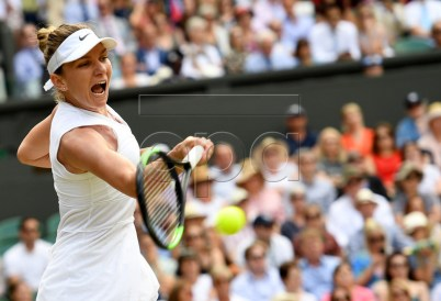 Simona Halep of Romania in action against Elina Svitolina of Ukraine during their semi final match for the Wimbledon Championships at the All England Lawn Tennis Club, in London, Britain, 11 July 2019. EPA-EFE/ANDY RAIN EDITORIAL USE ONLY/NO COMMERCIAL SALES