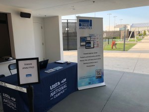 Tennis Analytics event booth at a tournament