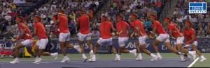 Rafael Nadal's backhand approach shot.