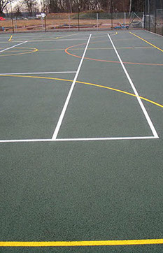 Pitch markings on a multi use games area (MUGA) built by En Tout Cas