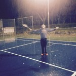Playing Tennis Outdoors in the Rain