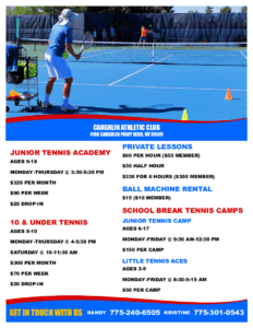 Junior Tennis Academy in Reno, NV at Caughlin Club