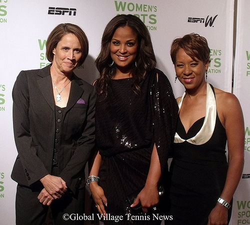 Mary Carillo, L. Ali and Katrina Adams