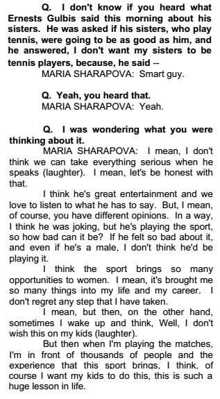 Sharapova transcript