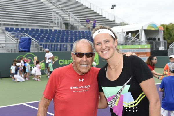 Nick Bollettieri  and Victoria Azarenka at Miami Open Kids Day