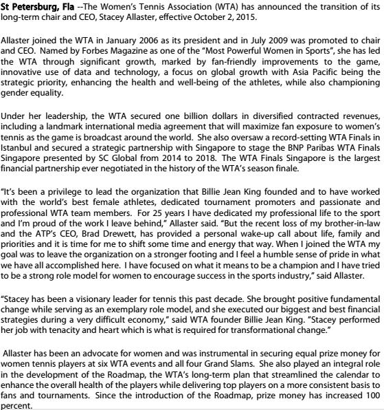 WTA Statement