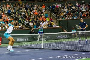 Nadal bh Vollley towards Bob Bryan
