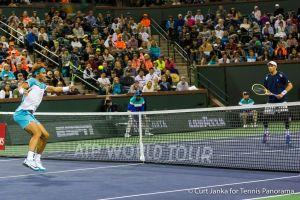 Nadal bh Vollley towards Bob Bryan