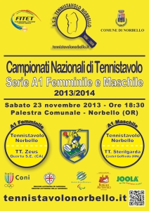 Locandina A1 Fem. & A1 Masch. - Tennistavolo Norbello 23-11-2013