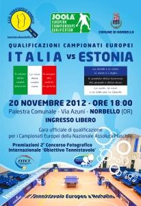 Locandina Tennistavolo - Italia vs Estonia - Norbello 20-11-2012