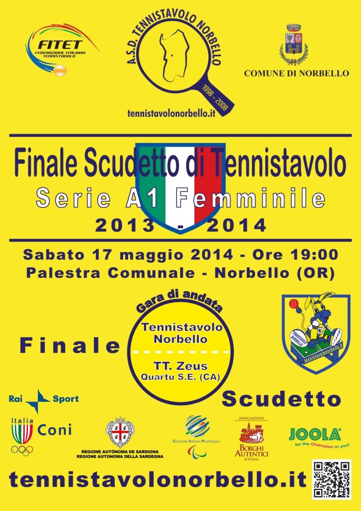 Locandina A1 Fem. Finale Scudetto - Tennistavolo Norbello 17-05-2014