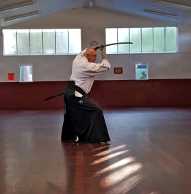Craig Andrew training with the Katana