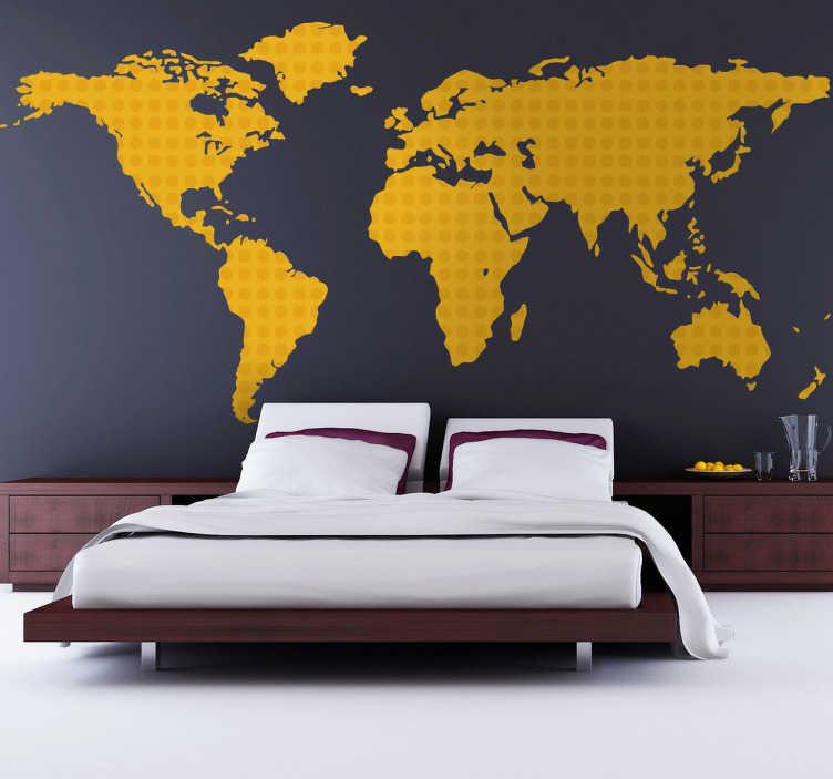 Yellow World Map Wall Sticker TenStickers