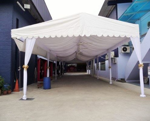 A-Shaped Tentage with Wrapped Pillars