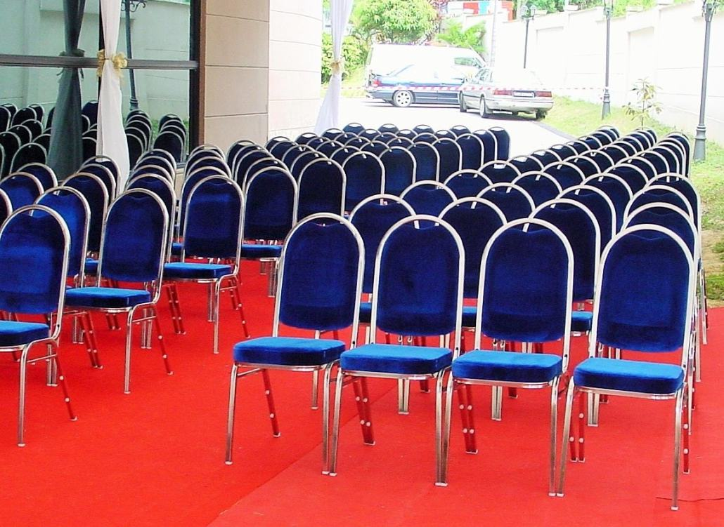 Blue cushion chairs with stainless steel frame