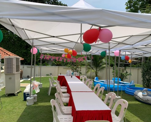 Portable Gazebo tents with tables and chairs