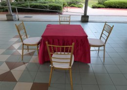 red table cloth for square table