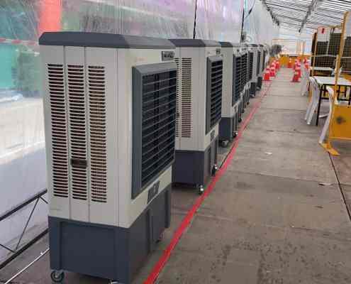 large air cooler at swab test site