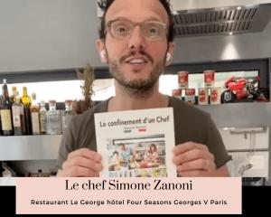 Le chef Simone Zanoni dans sa cuisine lors du confinement