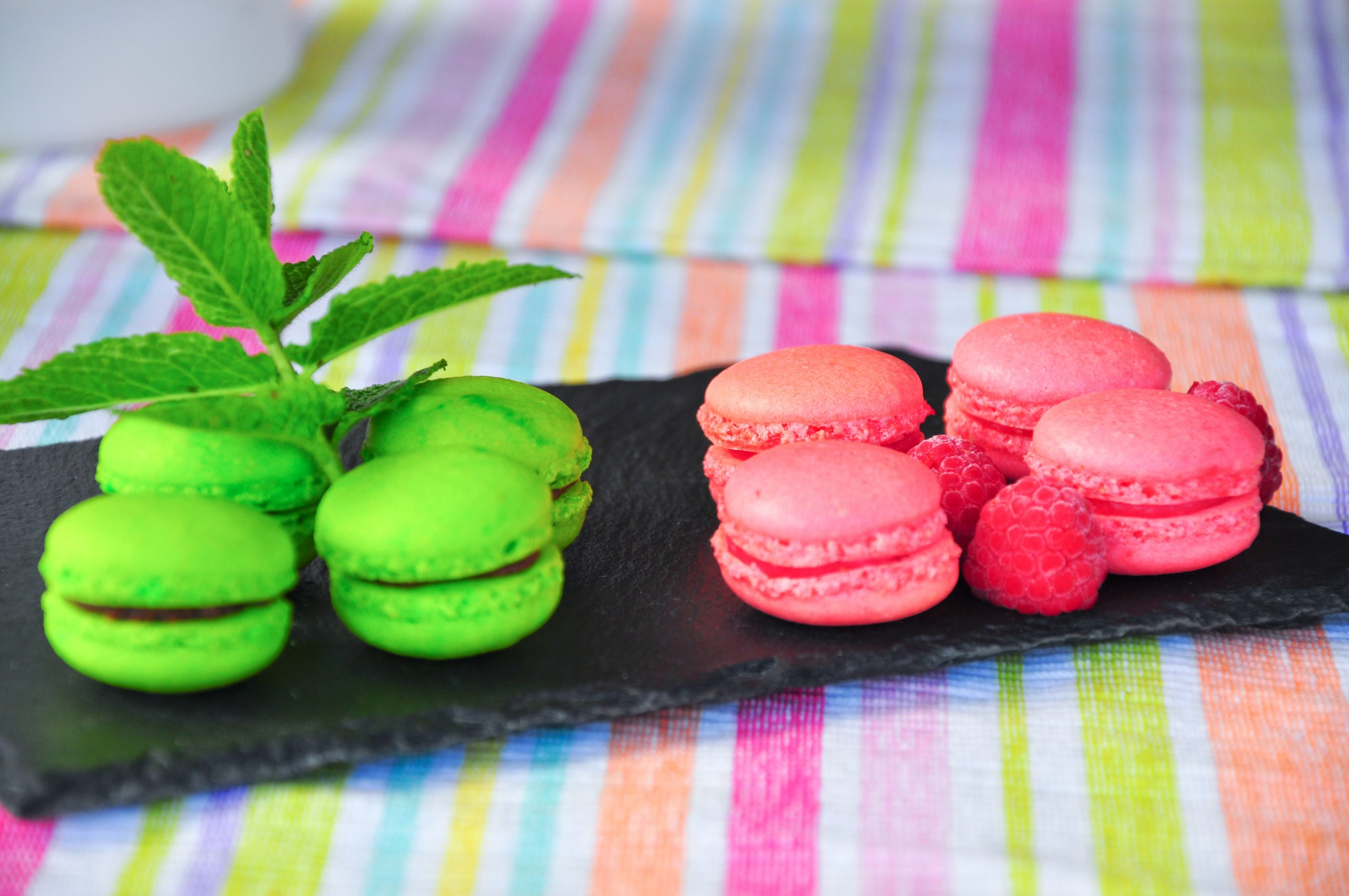 Mes macarons framboise et chocolat menthe