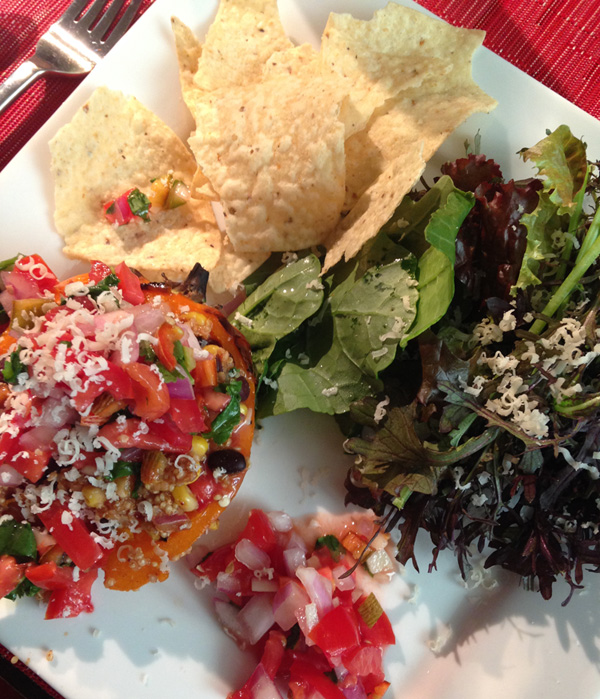Mid-summer salsa paired with end-of-summer stuffed peppers.