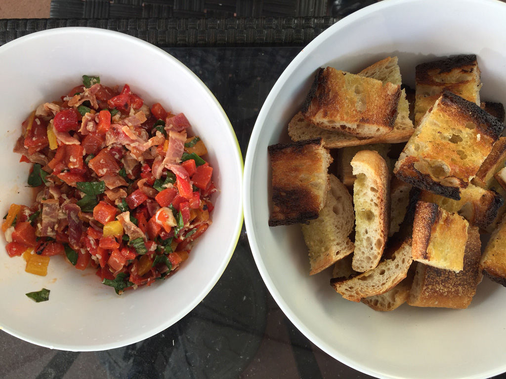 Bruschetta made from this week's market tomatoes, garlic, and baguette.