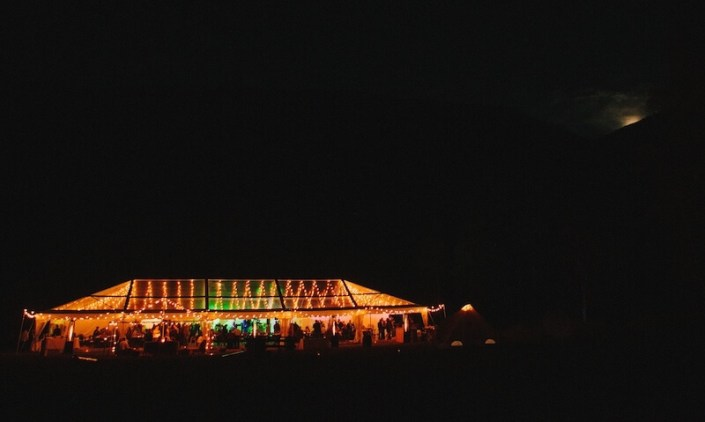 Clear Tent Rentals- Clear Top Tent at Night