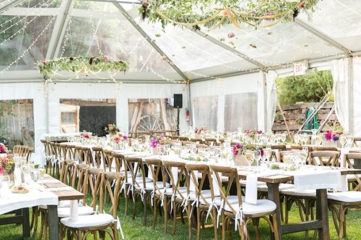 Clear Wedding Tent with Farm Tables & X Back Chairs