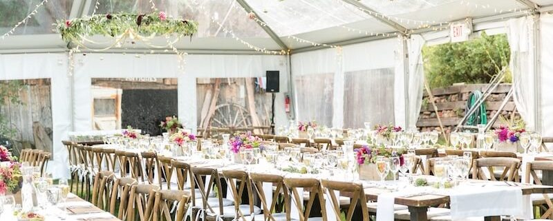 Clear Frame Tent With Farm Tables Amp X Back Chairs