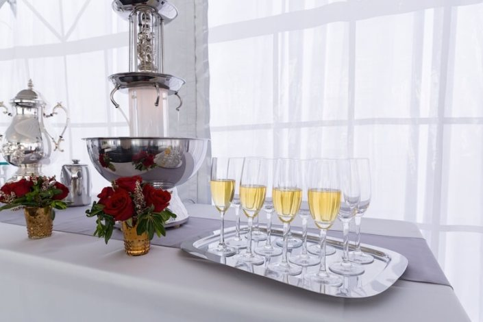 Champagne Fountain With Regina Champagne Flutes & Silver Serving Tray