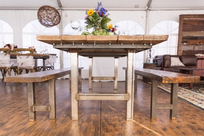 Rustic Farm Table & Benches With Iron Legs