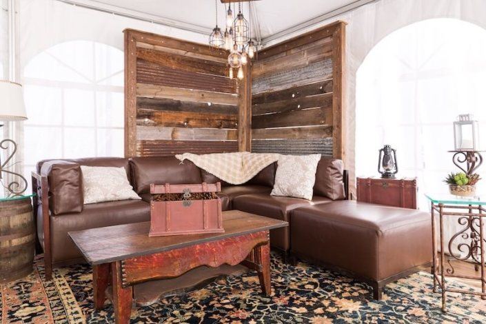 """Rustic """"Summit Lounge"""" Set With Barnwood Wall, Pecan Axis Furniture & Wooden Coffee Table"""