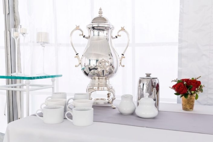 Samovar Silver Beverage Dispenser, Chrome Coffee Pourer & White China Cofee Set