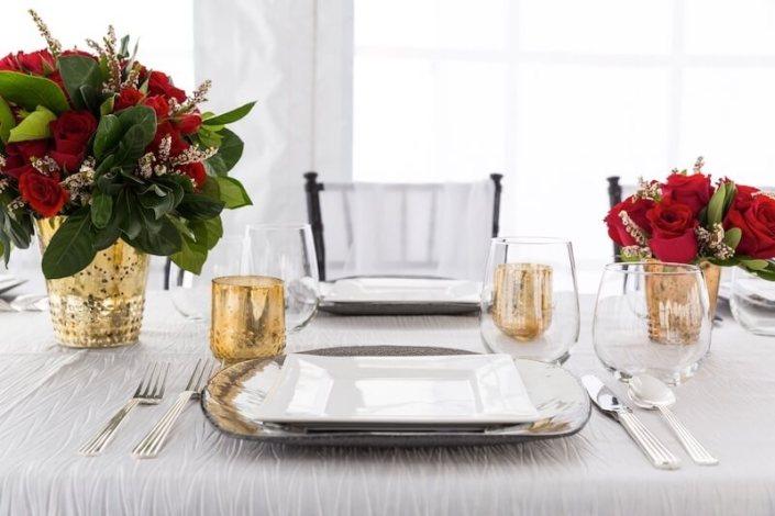 Table Setting With Square White China, Deco Silverware & Stemless Wine Glassware