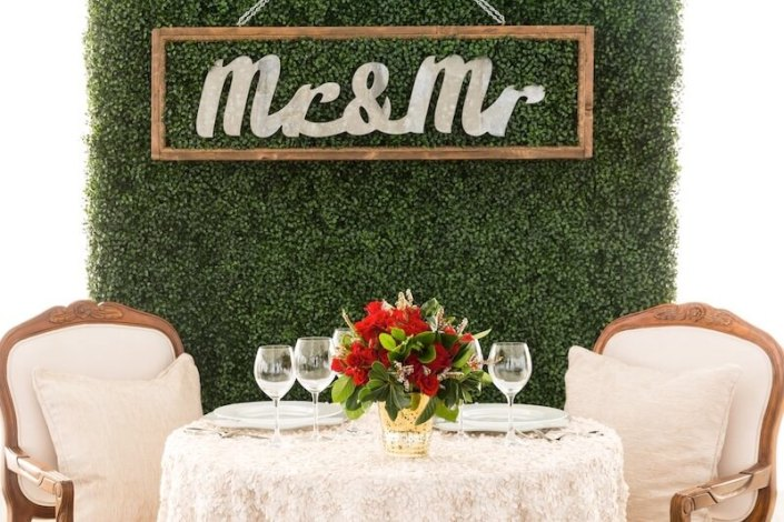Sweetheart Table With Antique Ivory Arm Chairs, Garden Wall With Mr & Mr Sign