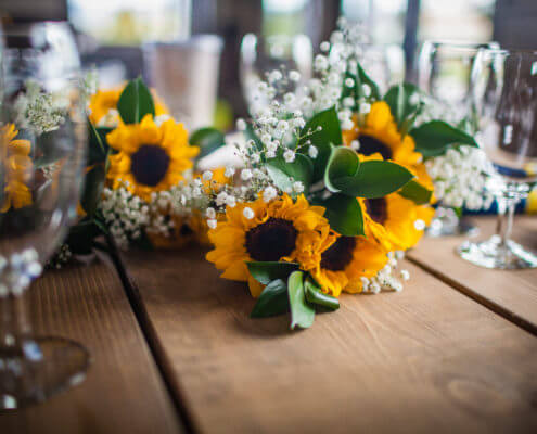 Party Rentals- Farm Table with Sunflowers
