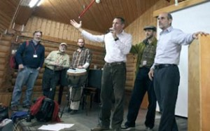 Youval, Ariel, and Asher speaking at Yad HaShmona