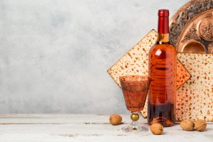 wine and matza bread