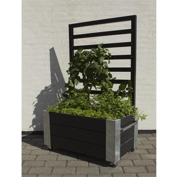 cubic jardiniere design rectangulair avec treillis sur roulettes 87x50x130cm bois noir