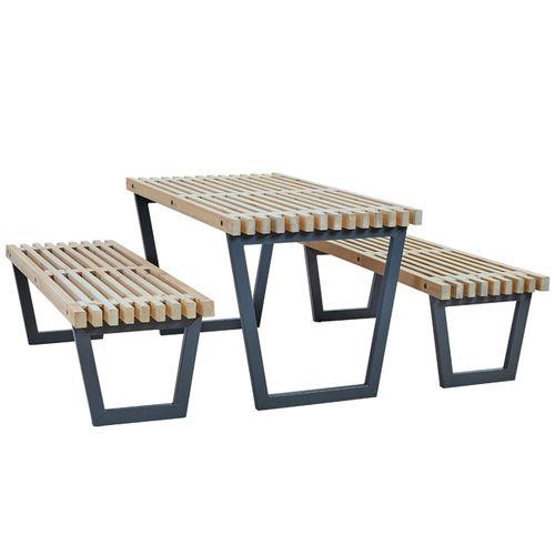 siesta ensemble table et 2 bancs de jardin lasure style bois flotte