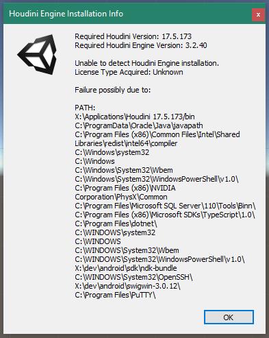 unity houe installationinfo notconnected