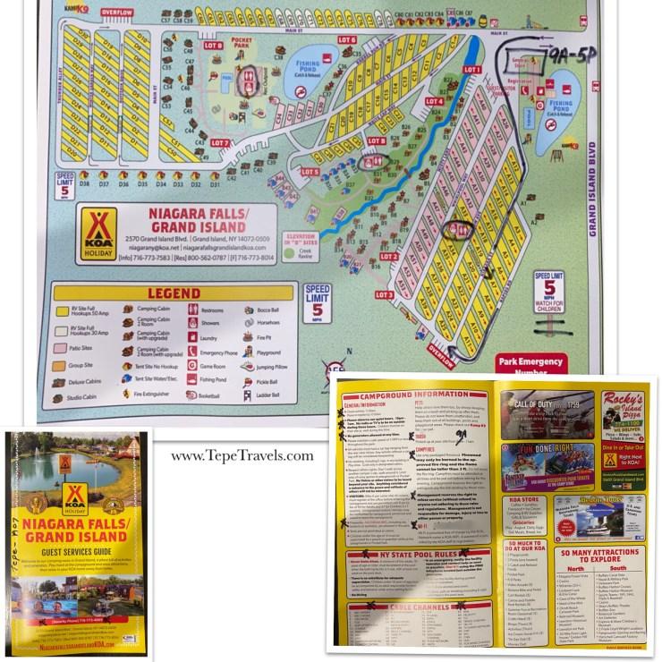 Niagara Falls/Grand Island KOA Campground Map