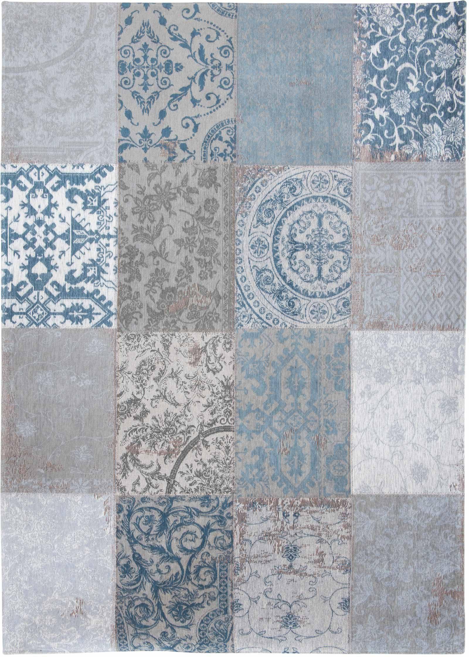 louis de poortere teppich vintage bruges blue 8981 patchwork multi design
