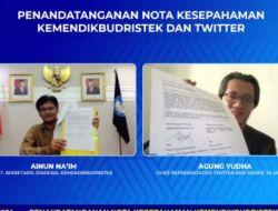 Kemendikbudristek –  Twitter Tandatangani MoU Penguatan Literasi Media Sosial Pelajar SMP