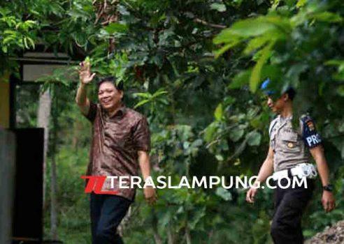 Bupati Tanggamus Bambang Kurniawanmelambaikan tangan ke arah para wartawan saat akan memasuku Sekolah Polisi Negara (SPN) Kemiling, Bandarlampung, untuk menjalani pemeriksaan KPK, Kamis (14/4/2016).