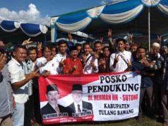 Herman HN saat berkampanye di Cempaka Jaya, Menggala Timur, Kabupaten Tulangbawang, Kamis (29/3/2018).