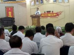 Kepala Bappeda Lampung Utara, Syahrizal Adhar mewakil Plt Bupati, Sri Widodo membuka kegiatan Musrenbang 2018