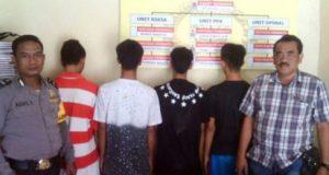 Empat remaja tersangka kasus pencabulan terhadap anak dibawah umur, yang diamankan petugas Unit reskrim Polsek Trimurjo, Lampung Tengah. (Foto Dok. Polsek Trimurjo)