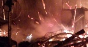 Gudang Saloin Intandi Langpura, Bandarlampung, ludes terbakar.